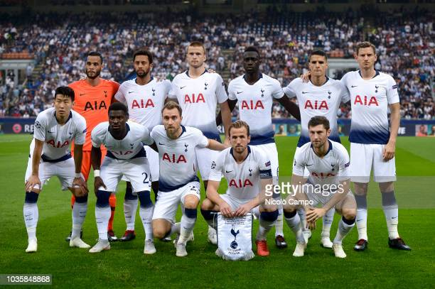 Players of Tottenham Hotspur pose for a team photo prior to the UEFA Champions League football match between FC Internazionale and Tottenham Hotspur...