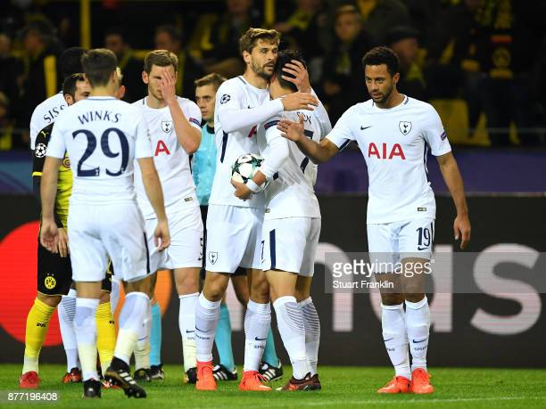 Players of Tottenham Hotspur thank each other after the UEFA Champions League group H match between Borussia Dortmund and Tottenham Hotspur at Signal...