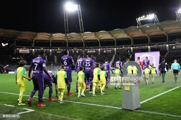 Players of Toulouse during the Ligue 1 match between Toulouse and Nantes at Stadium Municipal on January 17 2018 in Toulouse