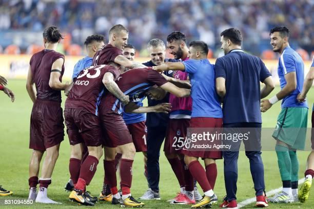Players of Trabzonspor celebrate after scoring a goal during a Turkish Spor Toto Super Lig soccer match between Trabzonspor and Atiker Konyaspor at...