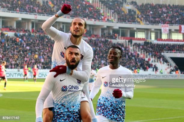 Players of Trabzonspor celebrate the goal during the Turkish Super Lig match between Demir Grup Sivasspor and Trabzonspor at Yeni 4 Eylül Stadium in...