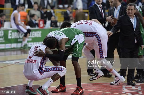 Players of Trabzonspor Medical Park seem sad after losing the FIBA EuroChallenge Final Four basketball match between Trabzonspor Medical Park and...