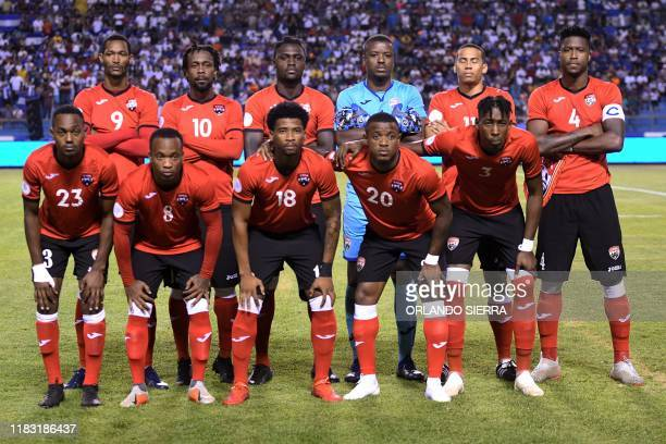 Players of Trinidad y Tobago pose for pictures before a Concacaf National League football match between Honduras and Trinidad and Tobago at Olimpico...