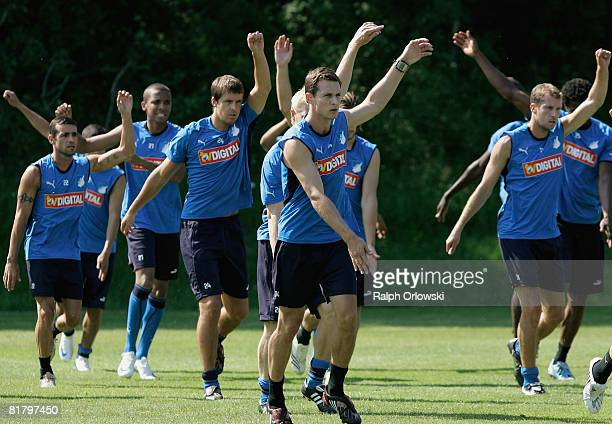 Players of TSG 1899 Hoffenheim practice gymnastics during a training session at their training camp on July 2, 2008 in Stahlhofen near Limburg,...