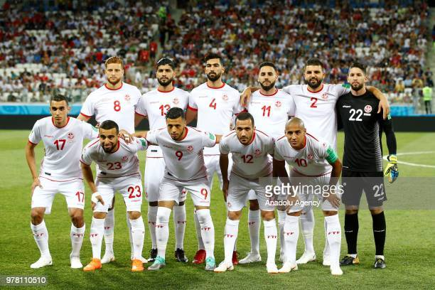 Players of Tunisia pose for a team photo ahead of the 2018 FIFA World Cup Russia Group G match between Tunisia and England at the Volgograd Arenain...