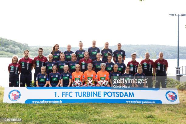 Players of Turbine Potsdam poses with Allianz Partner during the Allianz Frauen Bundesliga Club Tour at on August 17 2018 in Potsdam Germany