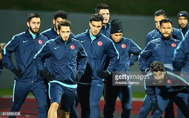Players of Turkey attends a training session ahead of UEFA 2018 World Cup Qualifying Group I match between Iceland and Turkey at Laugardalsvöllur...