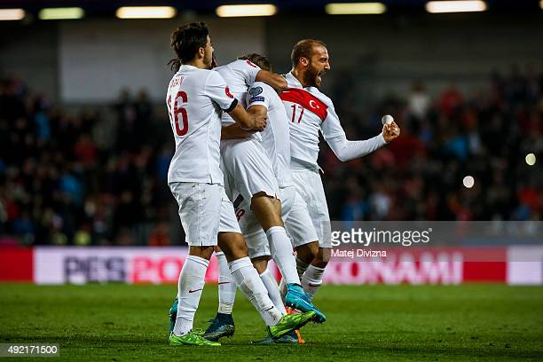 Players of Turkey celebrate goal during the UEFA EURO 2016 Group A Qualifier match between Czech Republic and Turkey at Letna Stadium on October 10...