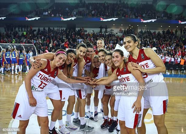 Players of Turkey celebrate winning the FIBA EuroBasket Women 2017 Qualifiers match between Turkey and Romania at Ankara Sports Hall in Ankara Turkey...
