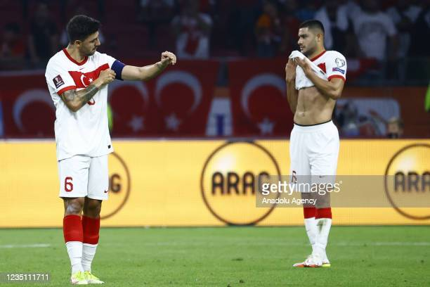 Players of Turkey gesture at the end of the 2022 FIFA World Cup Qualifiers Group G soccer match between Netherlands and Turkey at the Johan Cruijff...