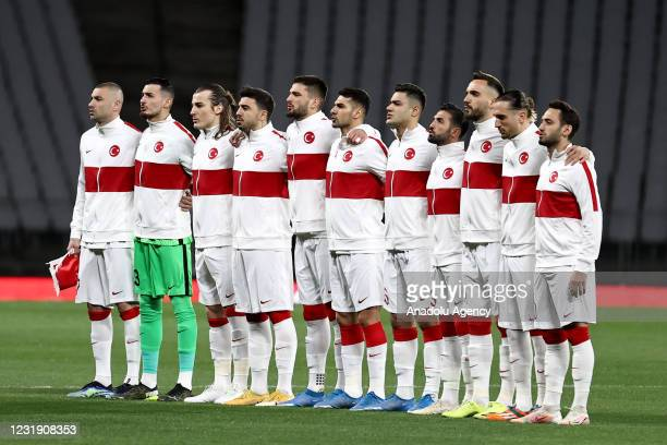 Players of Turkey listen to a national anthem ahead of the 2022 FIFA World Cup Europe Qualification Group G match etween Turkey and Netherlands, at...
