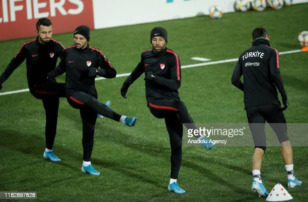 Players of Turkey National Football team attend a training session ahead of UEFA EURO 2020 European Championship Qualifiers Group H match between...