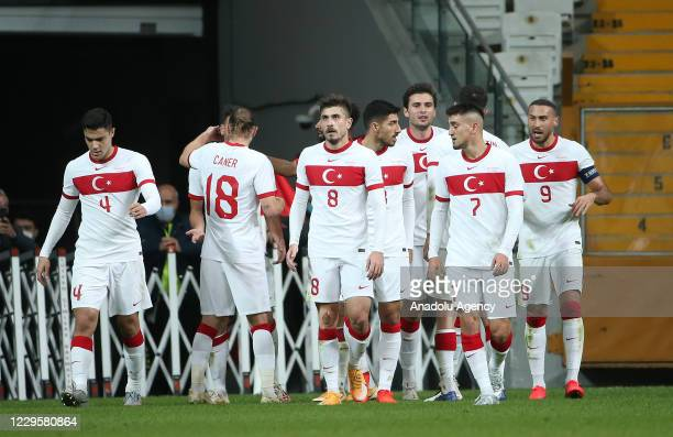 Players of Turkey National Football Team celebrate after Deniz Turuc scores a goal during a friendly match between the national football teams of...
