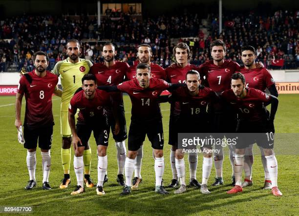 Players of Turkey pose for a team photo during the 2018 FIFA World Cup European Qualification Group I match between Finland and Turkey at Veritas...