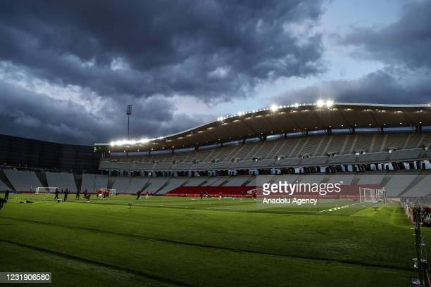 Players of Turkey warm up ahead of the 2022 FIFA World Cup Europe Qualification Group G Match against Netherlands, at Ataturk Olympic Stadium in...