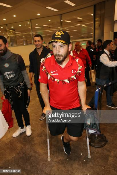Players of Turkish National Amputee Football Team are welcomed by fans along with federation officials on their return from Amputee Football World...