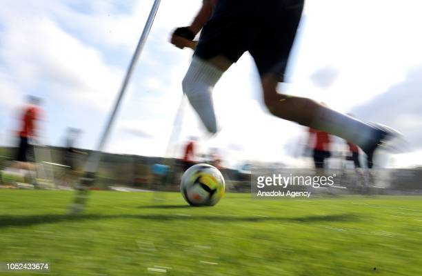 Players of Turkish National Amputee Football Team attend a training session at the Hasan Dogan National Team Camping and Training Facilities in...