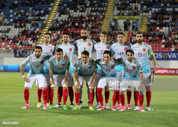 Players of Turkish National Football Team pose for a photo before the FIFA 2018 World Cup Qualifiers Group I match between Kosovo and Turkey at Loro...