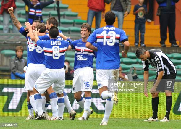 Players of UC Sampdoria celebrate the second goal scored by Daniele Mannini during the Serie A match between UC Sampdoria and AC Siena at the Luigi...