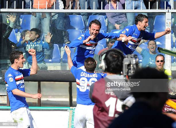 Players of UC Sampdoria celebrate their team second goal scored by Giampaolo Pazzini during the Serie A match between UC Sampdoria and AC Milan at...