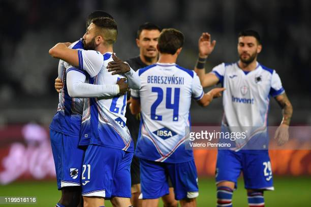 Players of UC Sampdoria celebrate victory at the end of the Serie A match between Torino FC and UC Sampdoria at Stadio Olimpico di Torino on February...
