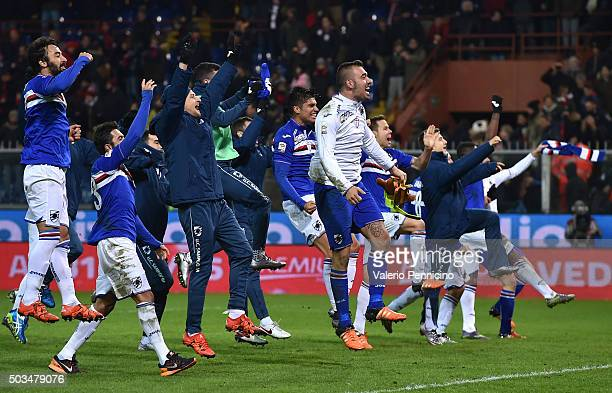 Players of UC Sampdoria celebrate victory at the end of the Serie A match between Genoa CFC and UC Sampdoria at Stadio Luigi Ferraris on January 5...