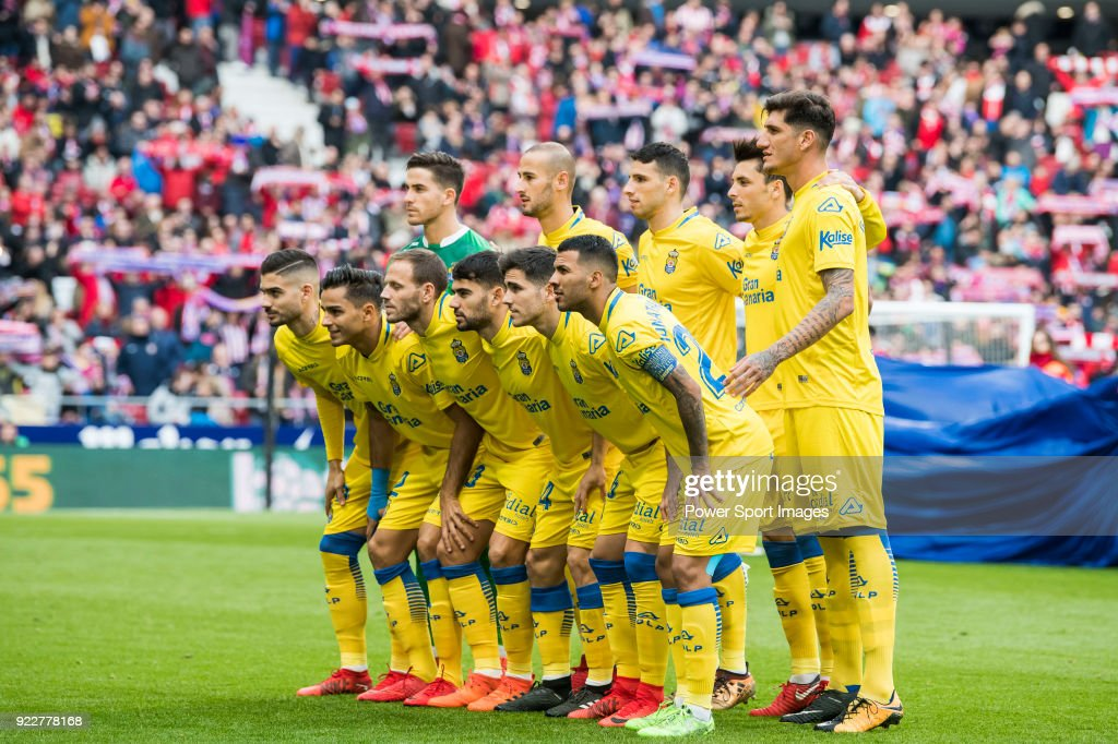 Players of UD Las Palmas line up and pose for a photo prior to the La Liga 2017-18 match between Atletico de Madrid and UD Las Palmas at Wanda Metropolitano on January 28 2018 in Madrid, Spain.