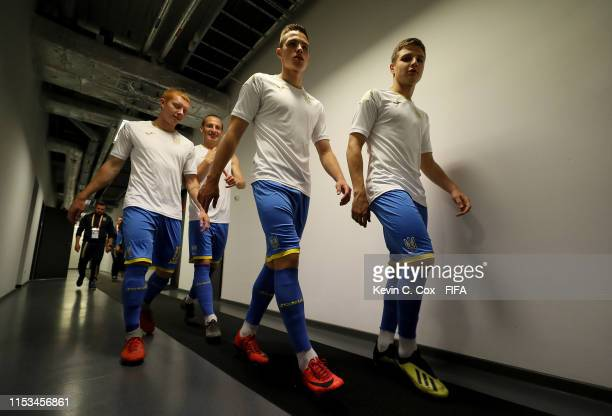 Players of Ukraine are seen in the tunnel prior to the 2019 FIFA U-20 World Cup Round of 16 match between Ukraine and Panama at Tychy Stadium on June...