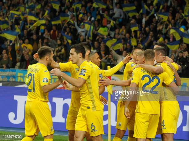 Players of Ukraine celebrate a goal during the UEFA Euro 2020 Qualifier - Group B soccer match Ukraine v Portugal, at the Olimpiyskiy stadium in...