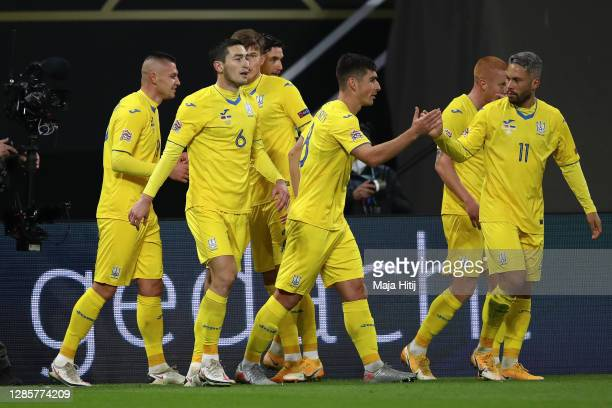 Players of Ukraine celebrate after Roman Yaremchuk of Ukraine scores first goal during the UEFA Nations League group stage match between Germany and...