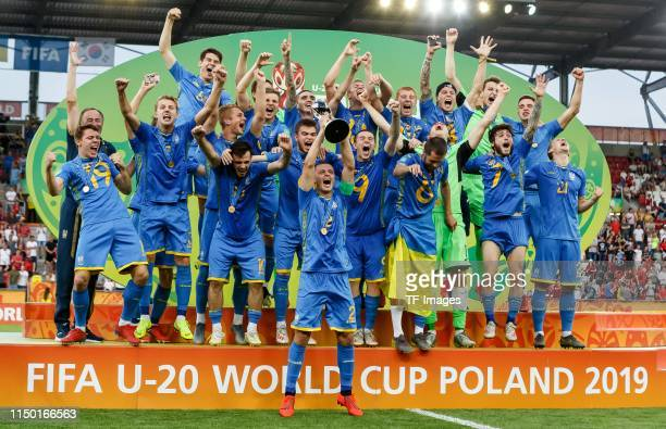 Players of Ukraine celebrate after winning the 2019 FIFA U20 World Cup Final between Ukraine and Korea Republic at Lodz Stadium on June 15 2019 in...