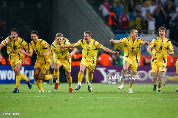 Players of Ukraine celebrate during the World Cup Round of 16 match between Switzerland and Ukraine at RheinEnergieStadion in Cologne, Germany, on...