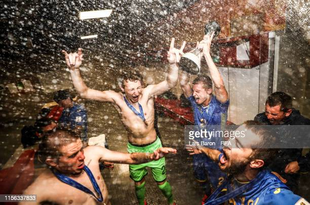 Players of Ukraine celebrate inside their dressing room following their victory in the 2019 FIFA U20 World Cup Final between Ukraine and Korea...