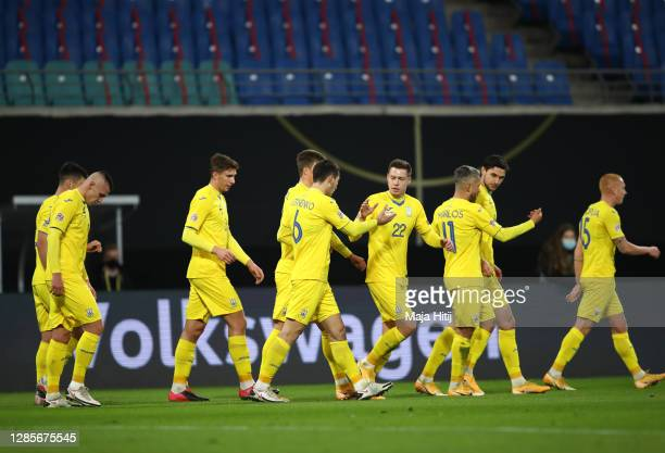 Players of Ukraine celebrate their team's first goal by Roman Yaremchuk during the UEFA Nations League group stage match between Germany and Ukraine...