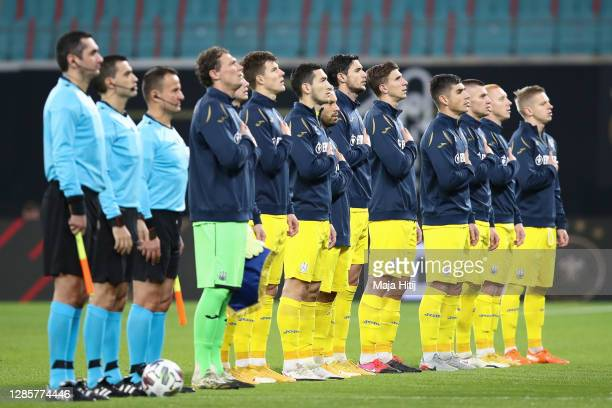 Players of Ukraine line up prior to the UEFA Nations League group stage match between Germany and Ukraine at Red Bull Arena on November 14, 2020 in...
