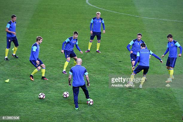 Players of Ukraine National Football Team attend a training session prior to UEFA 2018 World Cup Qualifying Group I match between Ukraine and Turkey,...