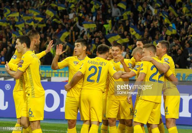 Players of Ukraine national team celebrate a goal during the UEFA Euro 2020 qualifying group B football match between Portugal and Ukraine at the...
