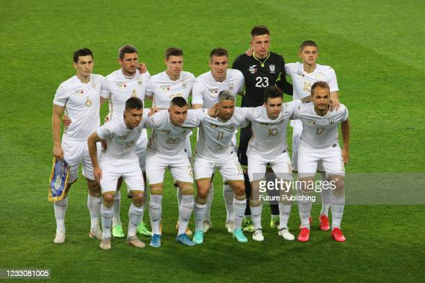 Players of Ukraine pose for a photo before a friendly match against Bahrain at the Metalist Stadium Regional Sports Complex, Kharkiv, northeastern...
