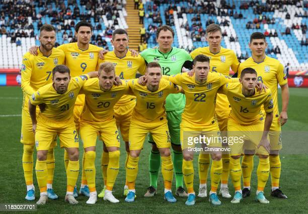 Players of Ukraine pose for a photo prior to the UEFA Euro 2020 Qualifier between Serbia and Ukraine on November 17 2019 in Belgrade Serbia