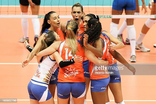 Players of Unilever and Sollys in action during the final match of Premier Women's Volleyball at Ibirapuera Gymnasium on April 07 2013 in Sao Paulo...
