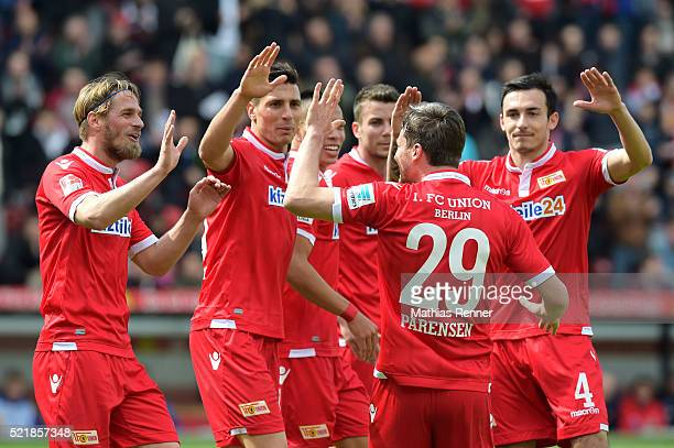 Players of Union Berlin celebrate after scoring the 1:0 during the Second Bundesliga match between Union Berlin and 1. FC Heidenheim on April 17,...