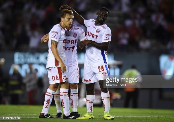 Players of Union celebrate after winning a match between River Plate and Union as part of Round 12 of Superliga 2018/19 at Estadio Monumental Antonio...