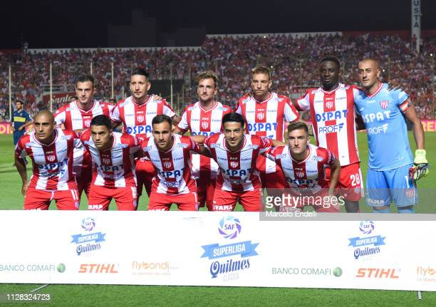 Players of Union pose for a photo prior a match between Union and Boca Juniors as part of Superliga 2018/19 at Estadio 15 de abril on March 1 2019 in...