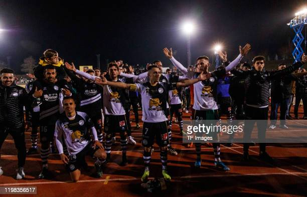 Players of Unionistas de Salamanca celebrate after the Copa del Rey round of 32 match between Unionistas CF and Real Madrid CF at stadium of Las...