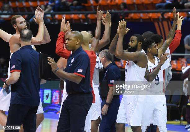 Players of United States celebrate after the FIBA Americup semi final match between US and Virgin Islands at Orfeo Superdomo arena on September 2...