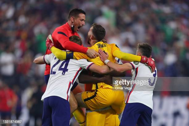 Players of United States celebrate after winning the CONCACAF Gold Cup 2021 final match between United States and Mexico at Allegiant Stadium on...