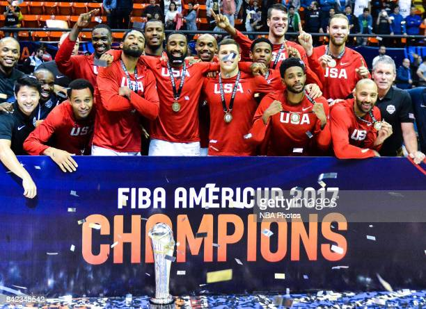 Players of United States celebrate after winning the FIBA Americup final match between US and Argentina at Orfeo Superdomo arena on September 03,...