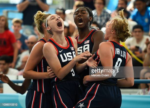 Players of United States celebrate after winning the Women's Gold Medal Game against France during day 11 of the Buenos Aires Youth Olympic Games at...