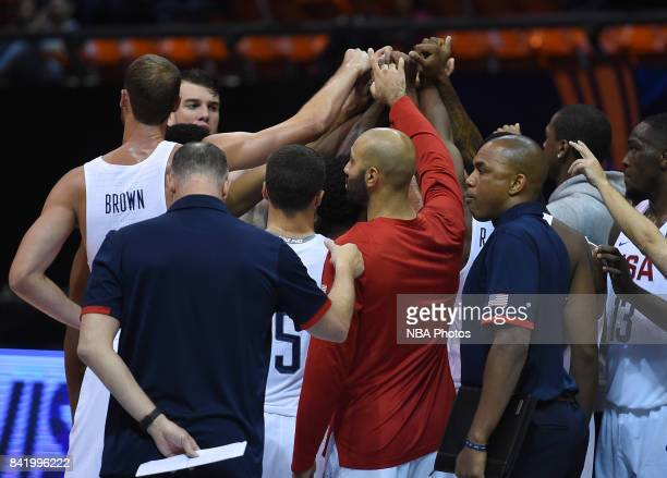 Players of United States celebrate during the FIBA Americup semi final match between US and Virgin Islands at Orfeo Superdomo arena on September 2...