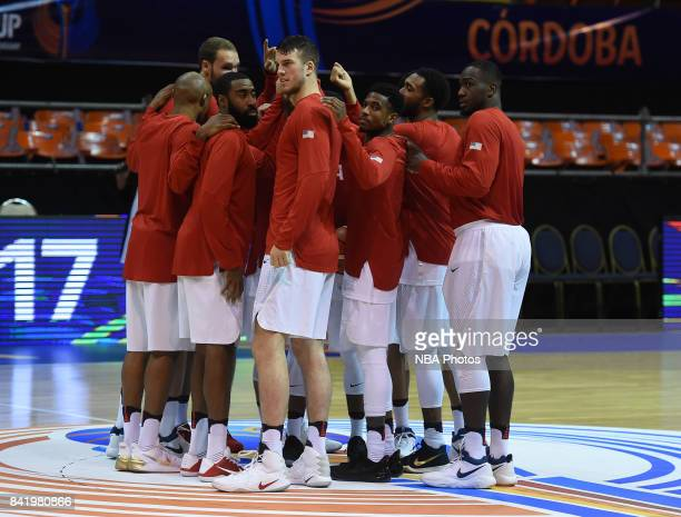 Players of United States huddle up prior to the FIBA Americup semi final match between US and Virgin Islands at Orfeo Superdomo arena on September 2...